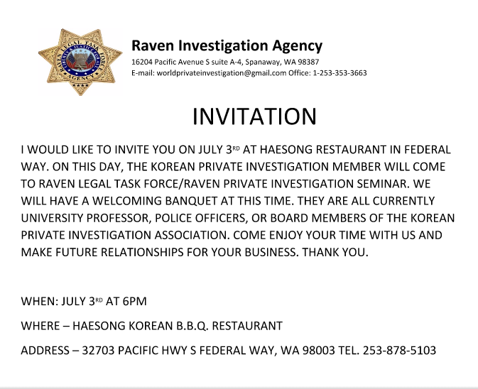 rpd report world task force security college invitation letter